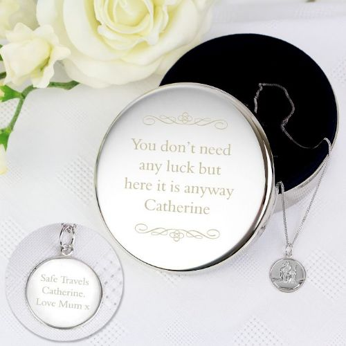 Personalised Round Trinket & Silver St Christopher Pendant Gift Set